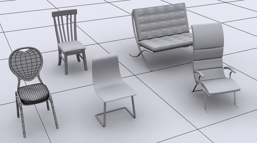 Include Time Software Modeling Five Different Chairs In 3ds Max