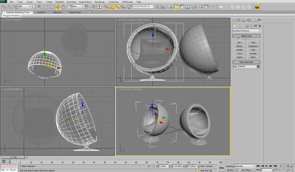 3ds max modeling modelling an egg chair using 3ds max tutorial for Interior modeling in 3ds max